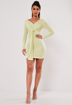 Missguided Green Slinky V Neck Tie Detail Mini Dress