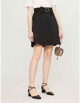 Claudie Pierlot Bow-belted A-line crepe skirt