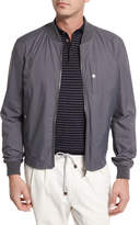 Brunello Cucinelli Nylon Baseball Jacket, Gray