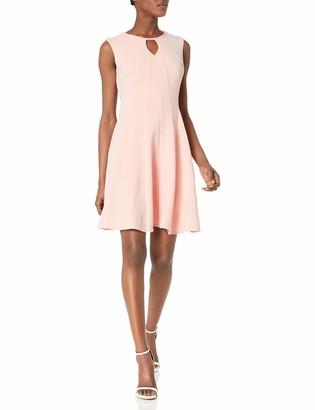 Sandra Darren Women's 1 Pc Extended Shoulder Solid Knit Fit & Flare Key Hole Dress