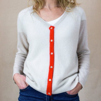 Jumper 1234 - Tipped Cashmere Cardigan - Oatmeal Coral   large - Grey pink