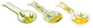 Amici Home Golden Acres White/Green with Painted Emblem 11 Inches Each Ceramic Spoon Rests, Set of 3