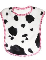 Patricia Ann Designs Reversible Bib, Cow with Vanilla Fleece and Red Check Trim by