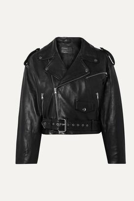 Sprwmn Cropped Leather Biker Jacket - Black