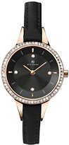 Accurist Women's Quartz Watch with Black Dial Analogue Display and Black Leather Strap 8044.01