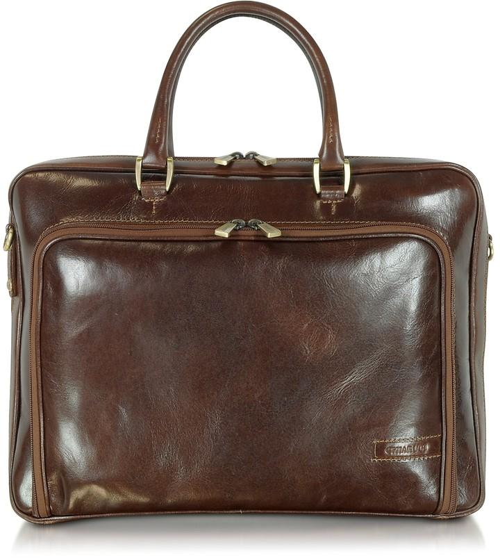 Chiarugi Dark Brown Double Handle Leather Zip Briefcase