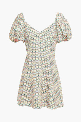 Alice + Olivia Solstice Gathered Printed Crepe Mini Dress