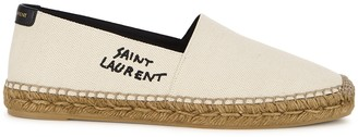 Saint Laurent Cream logo canvas espadrilles