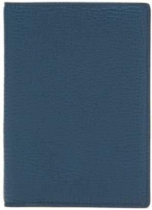 Smythson Grained Leather Passport Holder - Mens - Blue