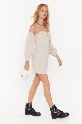 Nasty Gal Womens Take Off-the-Shoulder Puff Sleeve Dress - Cream - 14, Cream