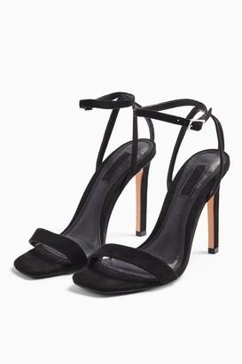 Topshop Womens **Wide Fit Saskia Black Skinny Two Part Heels - Black