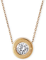 Michael Kors Bezel Set Crystal Logo Pendant Necklace