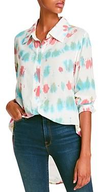 Aqua Dayana Printed High/Low Collared Shirt - 100% Exclusive