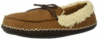 Dearfoams Men's Microsuede Moccasin with Quilting Slipper