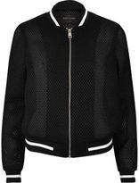 River Island Womens Black mesh bomber jacket