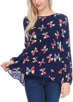Bellino Navy & Yellow Butterfly Swing Top
