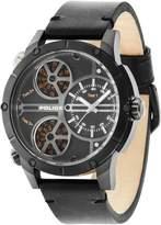 Police Men's 50mm Black Leather Band Steel Case Quartz Analog Watch 14699JSB/02