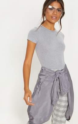 PrettyLittleThing Basic Black Jersey Fitted Short Sleeve Bodysuit