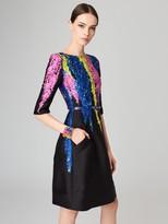 Oscar de la Renta Painted Tendrils Silk-Blend Mikado Dress