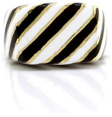 David Webb Kingdom 18K Yellow Gold Striped Enamel Ring Size 6.5