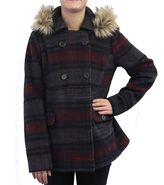 Women's Coffee Shop Wool Double Breasted Plaid Peacoat