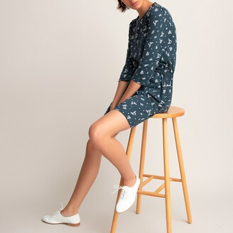 La Redoute Collections Cotton Mini Shift Dress with 3/4 Length Sleeves