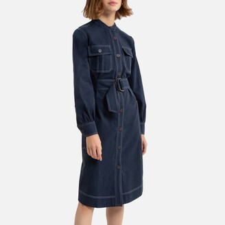 La Redoute Collections Military Button-Through Shirt Dress in Cotton Mix with Long Sleeves