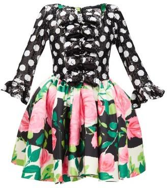 Richard Quinn Sequinned Polka Dot And Rose-print Dress - Black Print