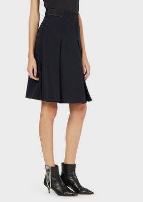 Emporio Armani Godet Skirt With Textured Jersey Mesh Details