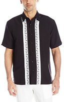 Cubavera Men's Short Sleeve Contrast Panels with Decorative Embroidery Woven Shirt