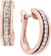 Effy Pave Rose by Diamond Hoop Earrings (1/3 ct. t.w.) in 14k Rose Gold