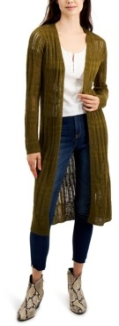 Freshman Juniors' Pointelle Duster Cardigan