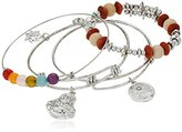Cara Yingyang and Buddha Charm Rhodium Charm Bracelet