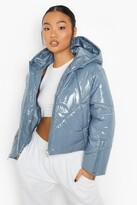 Thumbnail for your product : boohoo Petite High Shine Zip Sleeve Puffer Coat