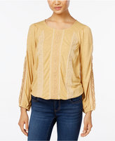 Style&Co. Style & Co. Petite Embroidered Lace-Detail Peasant Top, Only at Macy's