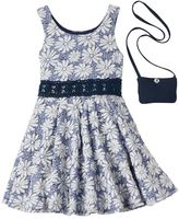 Knitworks Girls 4-6x Floral Skater Dress & Purse Set