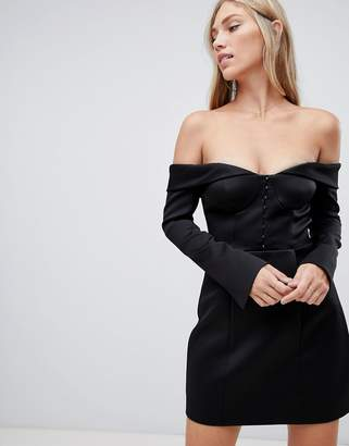 Forever New structured bardot bodycon mini dress in black