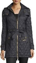 Burberry Bellbridge Long Quilted Jacket, Black