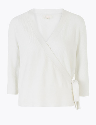Marks and Spencer Cotton Rich Knitted Wrap Cardigan