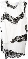 DKNY layered lace insert top - women - Silk/Nylon/Spandex/Elastane/Viscose - XS