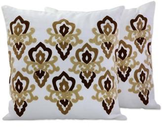 Novica Handmade Cool Awakening Cotton/Acrylic Thread Cushion Cover Pair India