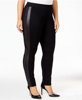 Style&Co. Style & Co. Plus Size Faux-Leather-Inset Leggings, Only at Macy's
