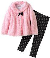 Little Lass faux-fur jacket set - girls 4-6x