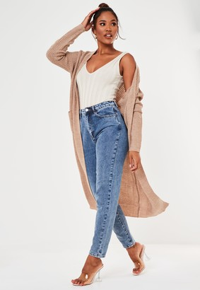 Missguided Stone Maxi Knitted Cardigan
