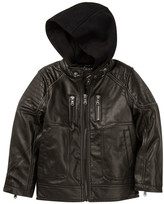 Urban Republic Fleece Hood Faux Leather Jacket (Big Boys)