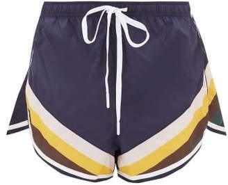 The Upside Sunrise Striped Performance Shorts - Womens - Navy Multi