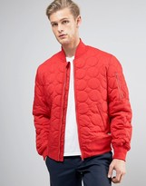 Converse Quilted Bomber Jacket In Red 10003390-a02