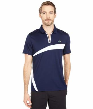 Lacoste Men's Sport Short Sleeve Zip Placket Colorblock Polo Shirt