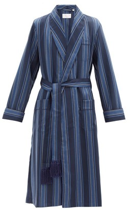 Derek Rose York Striped Wool Robe - Navy Multi