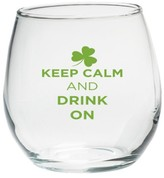 """Kate Aspen Set of 4) St Paddy """"Keep Calm and Drink On"""" Stemless Wine 15oz-Green Design"""